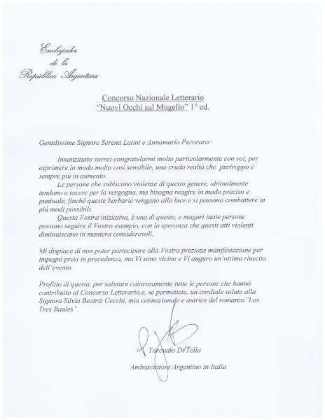 Lettera dell\'Ambasciatore Argentino in Italia Torcuato Di Tella